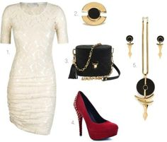 Red shoes and white lace dress