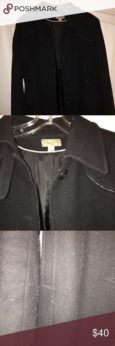 Black Pea Coat This coat has been worn and has lint from scarfs (refer to photo). It is nice for fall and winter months. American Rag Jackets & Coats Pea Coats