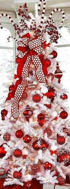 Beautiful, peppermint inspired red and white Christmas tree