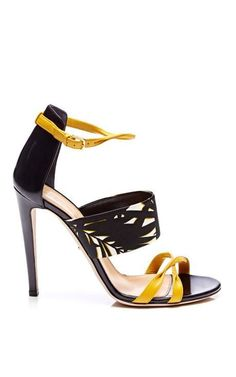 Printed Satin and Leather Sandals