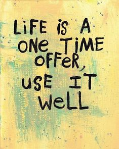 Life is a one time offer, use it well. thedailyquotes.com