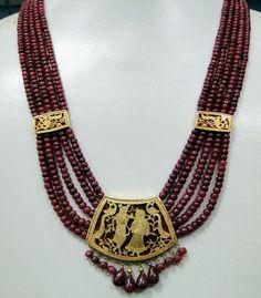 Vintage Antique Gold Theva Work Ruby Pendant Necklace Radha Krishna   eBay