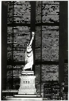 """themaninthegreenshirt: """"  Liberty and the World Trade Center, 1983. Photo by Fred R. Conrad/The New York Times """""""