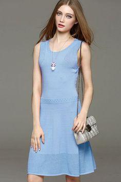 Waist plain sleeveless dress -KnitFans