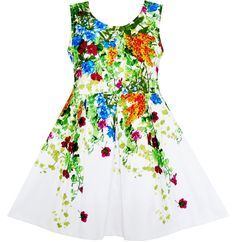 Girls Dress Elegant Princess Blooming Vine Ivy Flower Leaves Size 4-10 Years