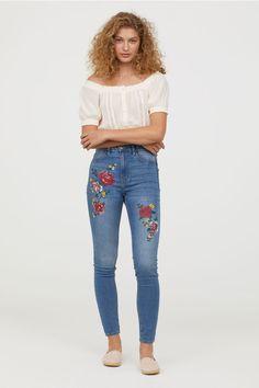 Super Skinny High Jeans - Niebieski denim/Kwiaty - ONA | H&M PL 1