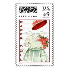 Paper Doll Red And White Costume Postage Stamps