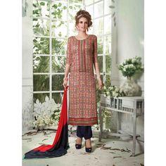 MultiColored Cotton Party Wear #Churidar Kameez- $30.30
