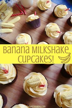 fluffy little cakes swirled with light sweet buttercream icing, laced with the nostalgic flavour of banana milkshake! Milkshake Cupcakes, Banana Milkshake, Nutella Cupcakes, Mocha Cupcakes, Strawberry Cupcakes, Vanilla Cupcakes, Food Cakes, Cupcake Cakes, Cupcake Ideas