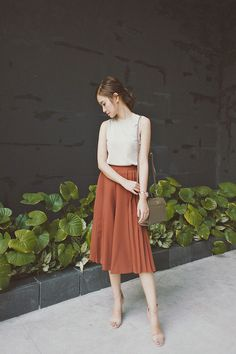 Tricia Gosingtian - Uniqlo Top, Murua Culottes, Lapalette Bag, Nine West Heels, Casio Sheen Shb 100 - 080616 Simple Outfits, Casual Outfits, Fashion Outfits, Womens Fashion, Tricia Gosingtian, Uniqlo Women Outfit, How To Wear Culottes, Outfit Goals, Skirt Outfits
