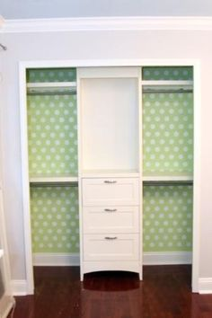 Wallpaper the back of a closet. Stack a bookshelf on top of a chest of drawers. Add 4 small rods instead of the 1 long rod. Instant custom closet & tons of extra storage. by sharon.c.baldwin.7