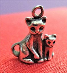 Cat and Kitten Charm Sterling Silver Bracelet Charm Vintage