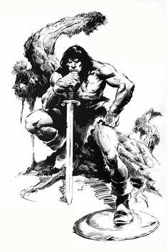 conan barbarian line drawing | John Buscema's Conan