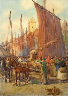Buy John Atkinson Fish Quay, North Shields and other Victorian paintings and watercolours at James Alder Fine Art Blaydon Races, George Stephenson, Ww2 Women, North Shields, Victorian Paintings, North East England, Coal Mining, Art Things, My Heritage