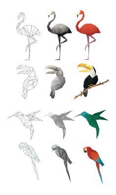 61 Ideas Origami Tattoo Flamingo For 2019 Origami Tattoo, Geometric Bird, Geometric Drawing, Geometric Origami, Polygon Art, Origami Decoration, Origami Animals, Origami Design, String Art