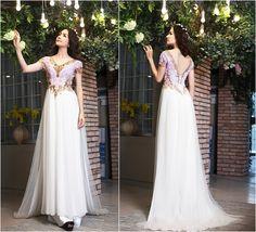 Áo dài cưới màu trắng cổ tim đính đá vàng đồng - Marry