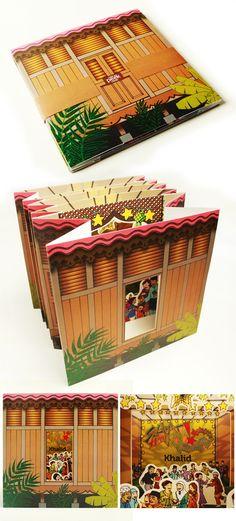 An accordian fold greeting card design for Hari Raya Aidilfitri. www.eminent.st
