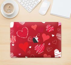 "The Red Sketched Love Hearts Illustrastion Skin Kit for the 12"" Apple MacBook"
