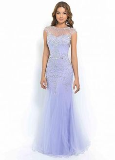 Lilac High Neck Cap Sleeves Embellished Beaded Flared Mermaid Gown [Blush 9966 Lilac] - $209.00 : Hot Trends Prom Dresses 2015 On Store For Girls