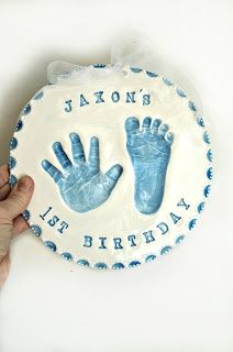 Hand and footprints in ceramic clay for baby and ... | Hand Print Ide ...... Mother's Day gift for the grandmothers!