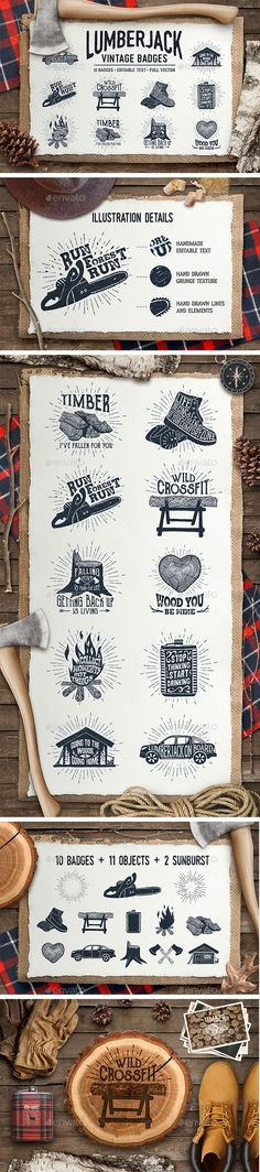 Lumberjack. Vintage Badges Vector EPS, AI Illustrator. Download here: https://graphicriver.net/item/lumberjack-vintage-badges-part-1/17412821?ref=ksioks