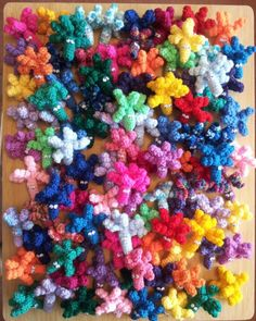 100 Crochet Pencil Toppers ~ designed & handmade by Elvira Jane.    I have made these for charity.  Please click on this picture to view the free UK pattern on my facebook page. I respectfully ask that you only use this pattern for charitable purposes. Thank you.