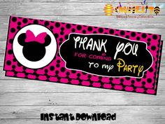 Printable Minnie bag toppers- DIY birthday bags - Minnie Birthday Labels - Minnie Mouse birthday - Printable Minnie Decoration-Bag toppers by Chumelito on Etsy