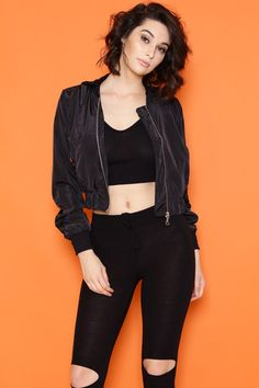"""Cropped Spring Bomber Jacket with PocketsFront Zipper Closure100% PolyesterDry Clean Only- Model is wearing a size SMALL- Model body measurements: Height 5'6"""" / Weight 110 lbs / B..."""