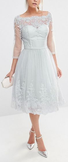 Lace Midi Dress by Chi Chi London in Serenity Blue #wedding