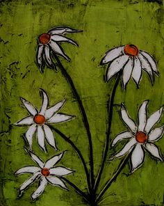 Abstract Art - Impasto Flower Painting - Lime Green Painting - Daisy Painting - 24x30 - Original Acrylic Canvas Painting