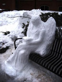 "Amazing snow sculpture but I'm freaked out still by statues after watching Dr Who episode with the ""weeping angels"" Ice Art, I Believe In Angels, Snow Sculptures, Ange Demon, Snow Art, Snow Angels, Weeping Angels, Snow And Ice, Winter Beauty"