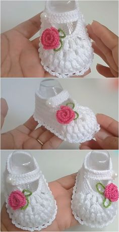 Crochet Baby Shoes With Tiny Rose Flower Crochet Baby Shoes Wi. - Crochet Baby Shoes With Tiny Rose Flower Crochet Baby Shoes With Tiny Rose Flower - Crochet Baby Sandals, Crochet Baby Boots, Knit Baby Booties, Booties Crochet, Baby Girl Crochet, Crochet Baby Clothes, Newborn Crochet, Crochet Baby Dress Pattern, Baby Shoes Pattern