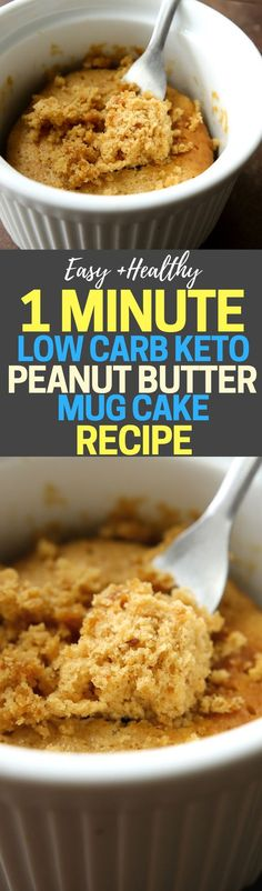 Low Carb Peanut Butter Mug Cake Recipe For Keto! This is the BEST mug cake recipe, and it ONLY takes 1 MINUTE to make in the microwave, ONLY requires 4 INGREDIENTS, and ONLY has 6 NET CARBS. As far as easy low carb keto snacks go this is at the top of my list. Plus, this is a flourless mug cake too, for those of you who are gluten free!! #Keto #Lowcarb #Recipe #Ketogenic #Mugcake #PeanutButter #Microwave #Flourless #Easy #Healthy #weightloss #Recipes #KetoSnacks