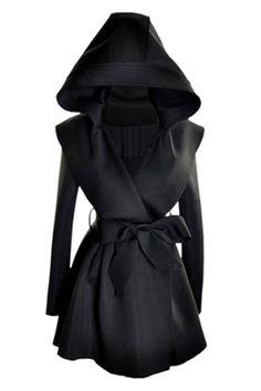 Slim Hooded Black Trench Coat
