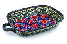 Polish Pottery 18-inch Rectangular Baker with Handles | Boleslawiec Stoneware | Polmedia H3483C