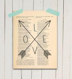 Love arrows Poster print Typographic art print by eebookprints, $11.99
