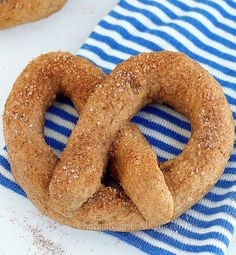 Copycat Auntie Anne's Cinnamon Sugar Soft Pretzel Recipe: http://chocolatecoveredkatie.com/2013/04/15/recipe-homemade-auntie-annes-soft-pretzels/