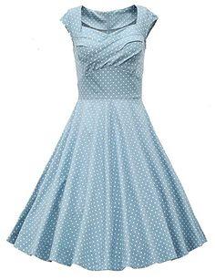Dresstells 50er Retro Audrey Hepburn Schwingen Pinup Polka Dots Rockabilly  Kleid Green XS 50er Jahre Mode 42815952e8