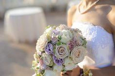 Bridal bouquet colorful pink purple blue white flowers wedding