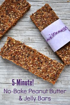 5-Minutes Healthy No-Bake Peanut Butter & Jelly Bars! These will make great snacks for my girls!!