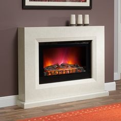 Albany Electric Fireplace - Shown in Manila micro marble.