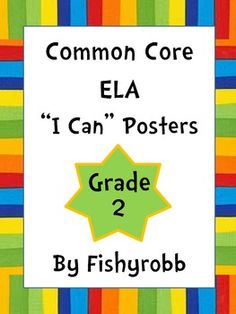 "Colorful 2nd grade common core display cards. These have the standard on one side and a kid-friendly ""I can"" statement on the other."
