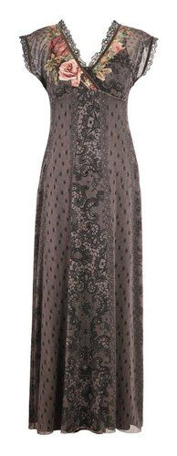 Lofty Long Dress by Michal Negrin with Cap Sleeve and Gold Merrow Edge Finish