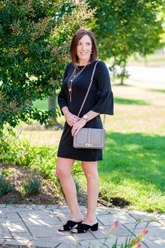 Fall Fashion: Styling a LBD with bell sleeves.