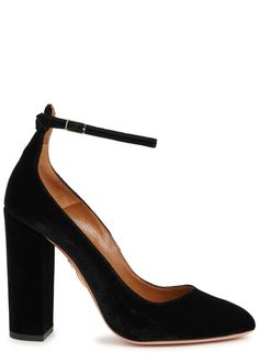 Aquazzurablack velvet pumps Block heel measures approximately 4.5 inches/ 115mm Almond toe Buckle-fastening ankle strap Come with a dust bag