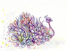 Purple Peacock doodle by alliejane, via Flickr