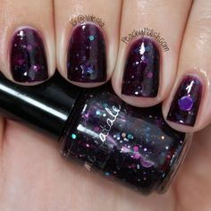 """Femme Fatale Cosmetics:  """"Edge of The Cosmo"""" has red, blue, purple and silver glitter in a deep eggplant jelly base.  My pictures aren't quite doing this one justice!  So pretty.  2 coats."""