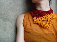 Silk crochet necklace, crochet jewelry, statement jewelry, silk necklace,silk yarn jewelry,orange red necklace