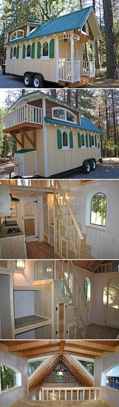 This 20' tiny house comes with handcrafted arched windows and doors, plus there is a balcony that is accessed from the bedroom loft through a hobbit door.
