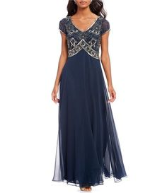 Jkara Floral Beaded Bodice Chiffon A-Line Gown. From Jkara, this gown features: chiffon fabrication a-line silhouette v-neckline cap sleeves floral beaded applique pullover construction polyester dry clean {affiliate link} Mother Of The Bride Dresses Long, Mothers Dresses, Bridal Party Dresses, Blue Wedding Dresses, Beaded Chiffon, Chiffon Gown, Chiffon Ruffle, Mob Dresses, Formal Dresses For Women